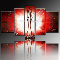 Free Shipping Artist Hand painted High Quality Modern Abstract Lover Oil Painting On Canvas Modern Black and Red Oil Painting