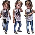 toddler girl clothing Cat Print T-shirt + Denim Pants Set kids clothing summer style	girls boutique clothing	 great