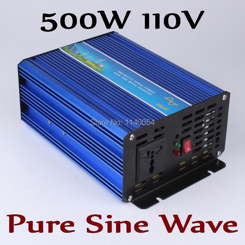 Onduleur 500 W hors réseau, onduleur à onde sinusoïdale pure pour système solaire et éolien 110 V DC à AC 100/110/120/220/230/240 V