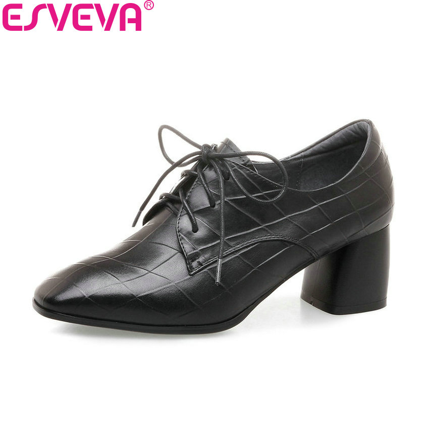 ESVEVA 2018 Square Toe Women Pumps Shoes Cow Leather PU Square High Heels Lace Up Elegant Black Out Door Ladies Shoes Size 34-42 esveva 2017 new pointed toe pu women pumps lace up british style fashion shoes women spring square high heel pumps size 34 39