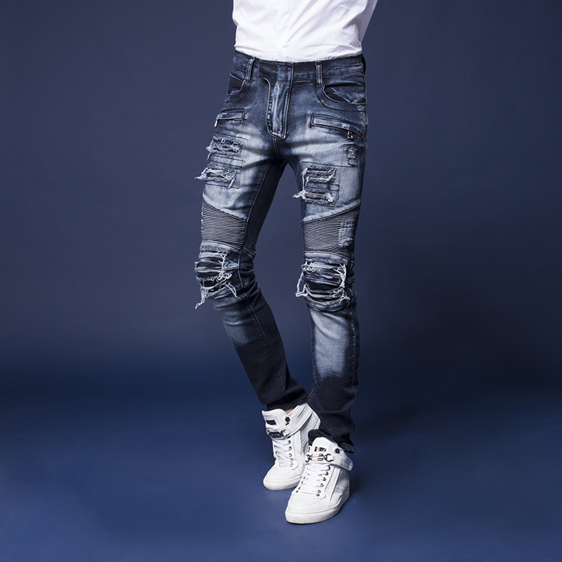2017 new High Quality Men Jeans Skinny Jeans Men Biker Jeans Fashion Design Denim Ripped Jeans For Men Pants Plus Size 29-42 2016 high quality mens jeans blue color printed jeans for men ripped button jeans casual pants quality cotton denim jeans