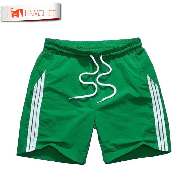 HNMCHIEF Quick Dry Men's Board Shorts Sea Short Beach Bermuda Solid Man Short Male Leisure Fitness Jogger 4 Colors Off White