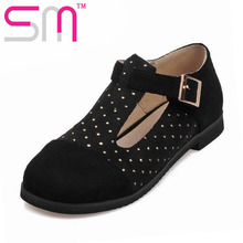 Top Selling Spring Square Toe Casual Zapatos Mujer Big Size 33-52 2016 New T-Strap Woman Flats Fashion Mixed Color Shoes Woman