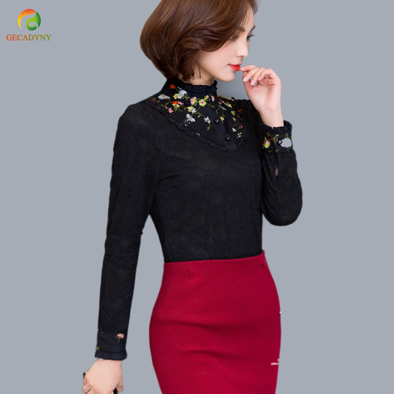 Long Sleeve Women Lace Stitch Printed Blouses Plus Velvet Warm Women Tops Fashion 2017 New Women Bottoming Shirts Casual Blusas