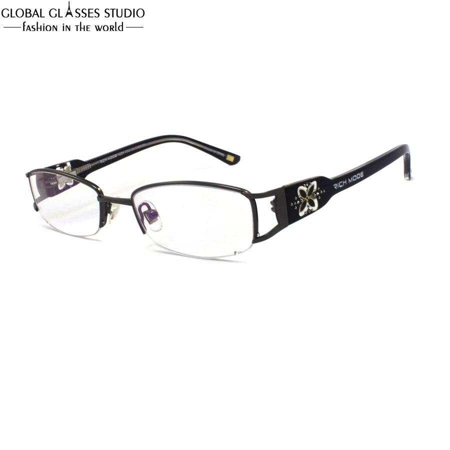 a77fb5e8aeb1c Lente Oval Metade Aro Óculos de Armação de Metal Sem Chifres Templo Grande  Teste Padrão do Trevo Das Mulheres De Luxo Strass Decoração Eyewear  RM00460-C3