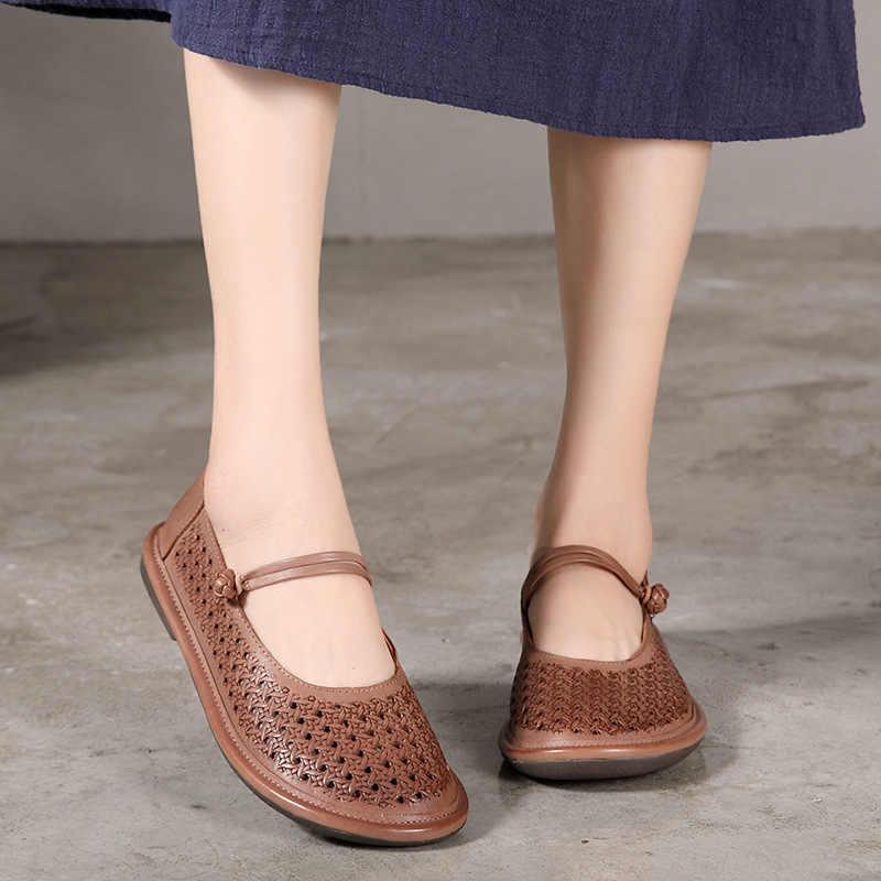 2018 VALLU kadın ayakkabı hakiki deri etnik tarzı Hollow Flats bayan bağbozumu el yapımı ayakkabı yumuşak düz kadın toka kayış ayakkabı