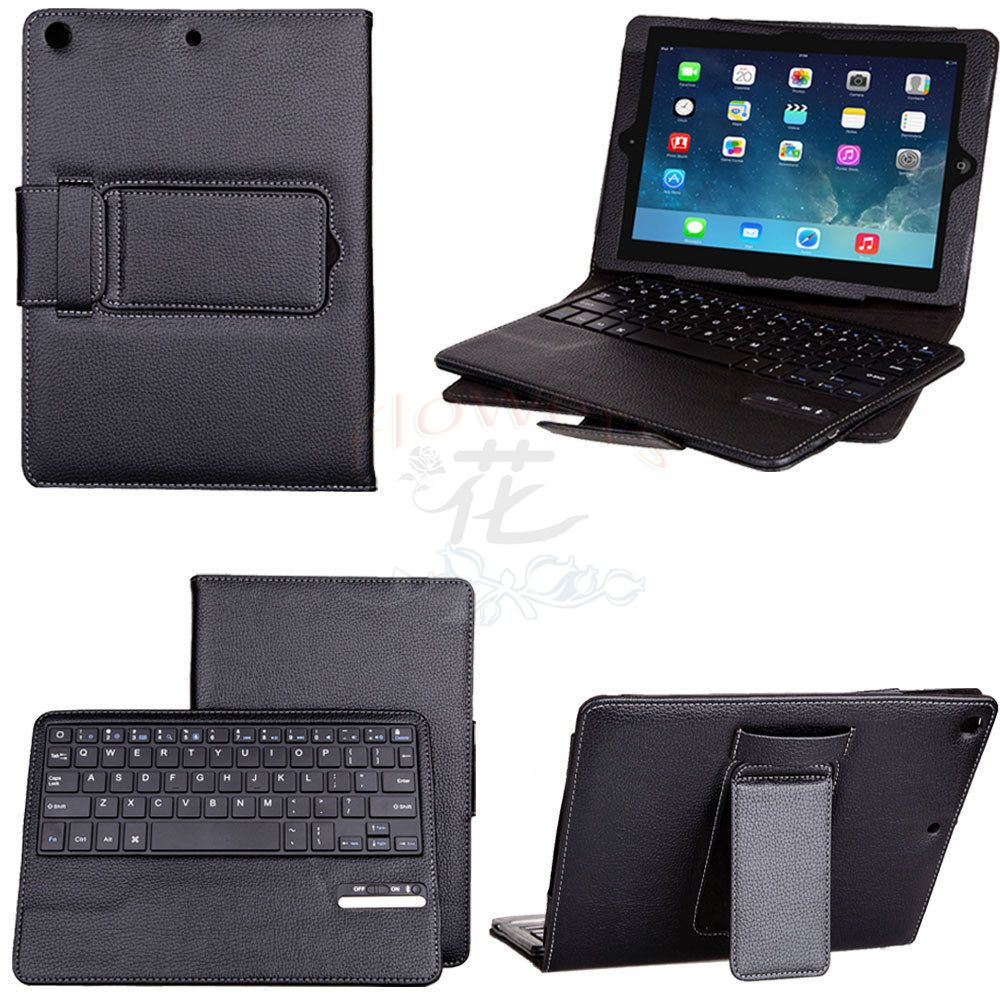 High Quality Detachable Leather Folio Bluetooth Keyboard Stand Case For iPad Air iPad 5 Free Shipping UPS DHL CPAM HKPAM high quality ultra portable bluetooth folding qwerty keyboard for iphone free shipping