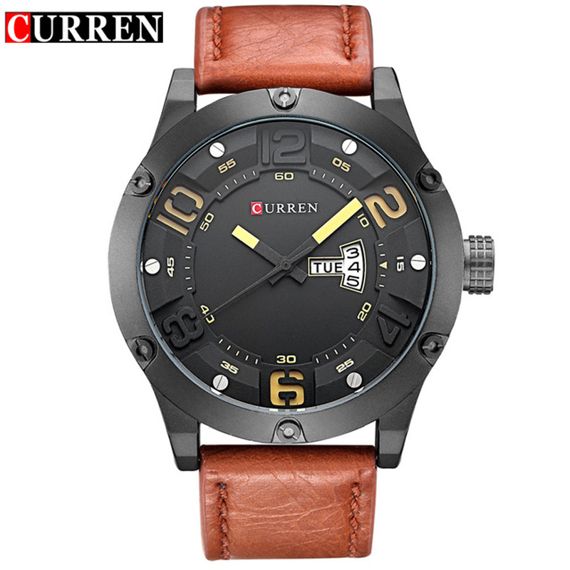 CURREN Luxury Brand Date Japan Movt Man Quartz Casual Watch Army Military Sports Watch Mens Watches Male Leather Strap Clock Men 2 time zone army military oulm watch for men leather strap quartz japan movt quartz sports wristwatch