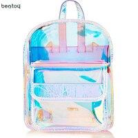Hologram School Bag For Women Girls Korean Laser Transparent Backpacks Teenagers Student Travel Waterproof Schoolbags Bagpack