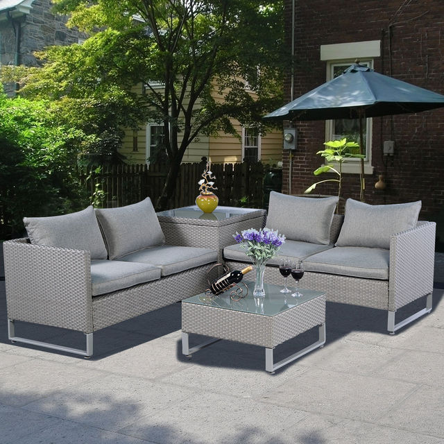 Giantex 4PCS Rattan Wicker Patio Sofa Cushion Seat Set Garden Outdoor Furniture Lawn Sofa Chairs Set : table and chairs set garden - pezcame.com