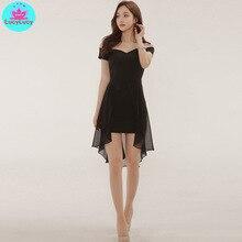 Womens 2019 summer Korean new chiffon fashion Slim one-neck dress Knee-Length  Off the Shoulder Slash neck