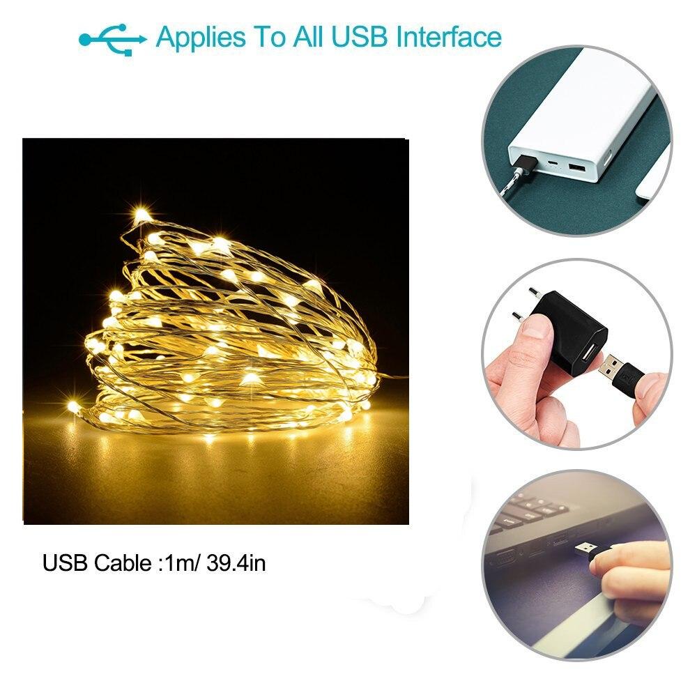 garland string usb usb 16.4 32.8ft Sârmă de cupru sârmă de - Iluminat exterior - Fotografie 3