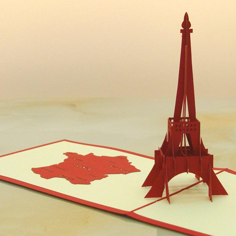 3D Pop Up Folk Art Gift Greeting Cards red Paris Eiffel Tower Handmade birthday CARDS KT0268 30pcs in one postcard take a walk on the go dubai arab emirates christmas postcards greeting birthday message cards 10 2x14 2cm