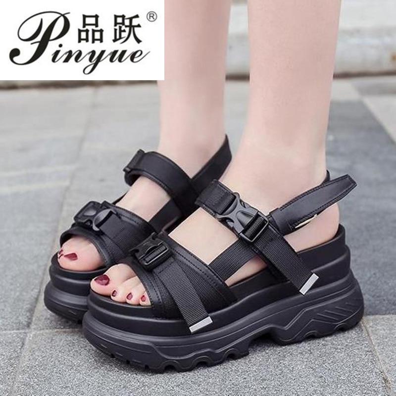 Mujeres Plataforma Para blanco Sandalias Moda De Zapatillas Damas Verano Negro Cuñas Fondo Zapatos Grueso Caminar 2019 Las La Chinelo Sandalia w6FEqnP4