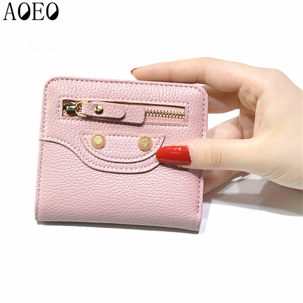 Female beautiful purses money fine leather Bag Womens Short Small wallets For Girls Coin Mini Ladies Candy Wallet Thin Pocket