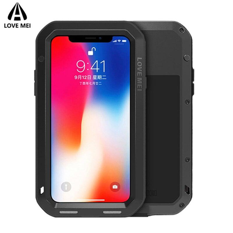 AMOUR MEI En Aluminium En Métal Cas Pour Apple iPhone X Couverture Puissant Armure Antichoc Téléphone Cas Pour iPhone X Coque