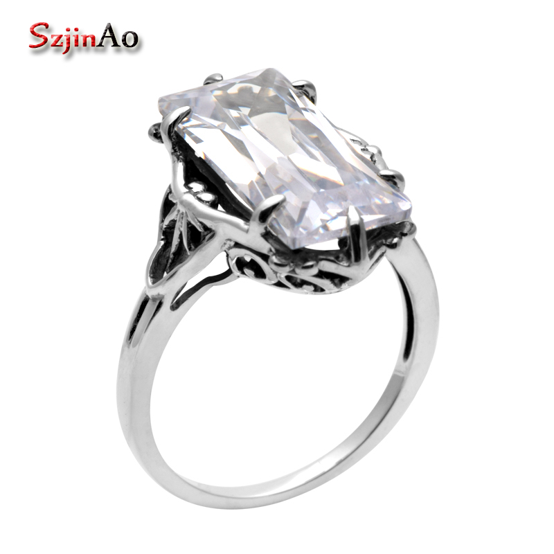Szjinao Shop Brand Design Delicate Shiny Square Big Stone Austrian Crystal Engagement 925 Ring Zircon Wedding Rings for Women