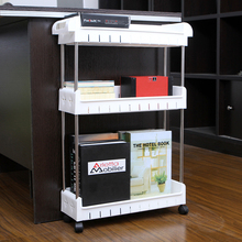 купить Plastic shelf with wheels kitchen refrigerator storage rack apertural bathroom multi-layer finishing rack по цене 3467.54 рублей