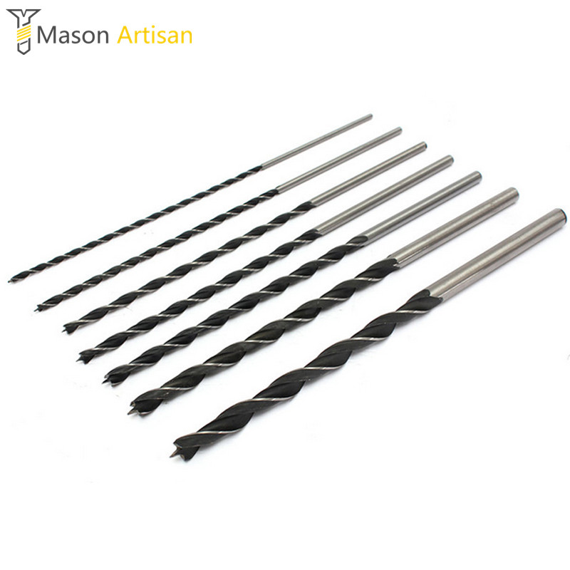 7Pcs/Set 300mm Woodworking Drill Bit HCS Deep Hole Drill 4/5/6/7/8/10/12mm Twist Drill Bits Power Tools Accessories 3 8 9 5mm twist 9 5mm diameter bits step drill woodworking drills bits set for kreg pocket hole drill jig guide
