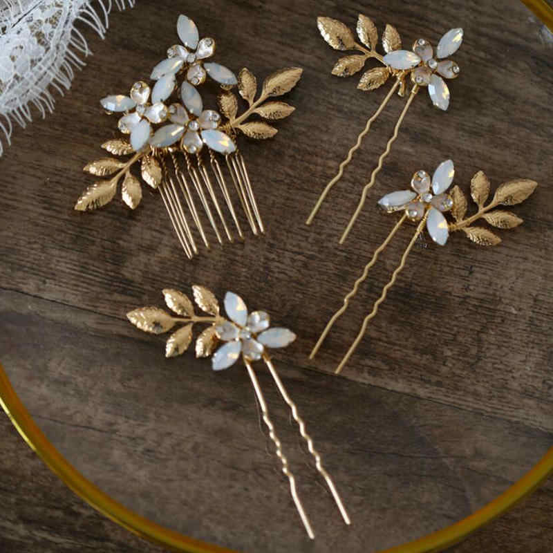 Bridal Hair Comb Hairpin Set Handmade With Fresh Water Pearls Wedding Hair Accesories Leaf Opal Crystal Bridal Head Pieces