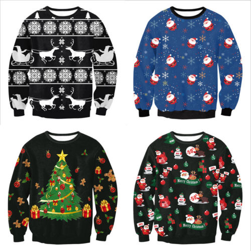 2019 Ugly <font><b>Christmas</b></font> Santa Claus Printed Loose <font><b>Sweater</b></font> <font><b>Unisex</b></font> Men Women Pullover Autumn Winter Tops Xmas Clothing M L XL image