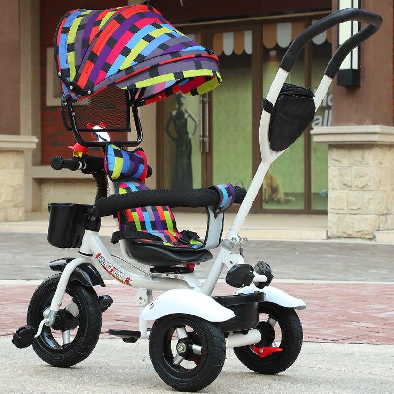 Siège pivotant bébé Tricycle vélo enfant vélo poussette 2 en 1 trois roues bébé chariot Portable enfant chariot landau Trike 6M-6Y - 5