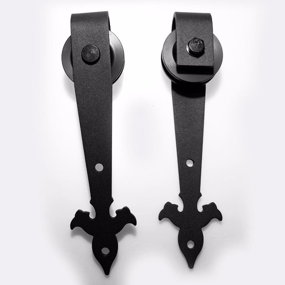 LWZH 10ft 11ft 12ft Wooden Sliding Barn Door Hardware Kit Country Style Black Steel Roller Track Hardware for Single Door