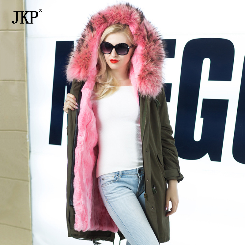 Women Winter Jacket Natural Raccoon Fur  Parka Real rex rabbit fur Lining Coat Real Large Raccoon Fur Collar Coat faux rabbit fur brown mr short jacket sleeveless with big raccoon collar fall coat