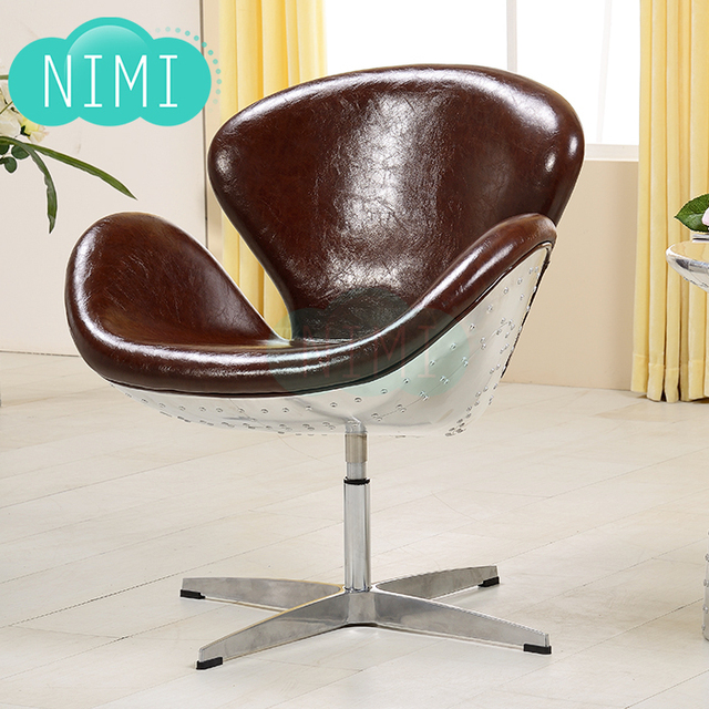 Swan Chair Aluminum Skin Of Metal Furniture Personalized Retro Swivel Beanbag Computer Desk