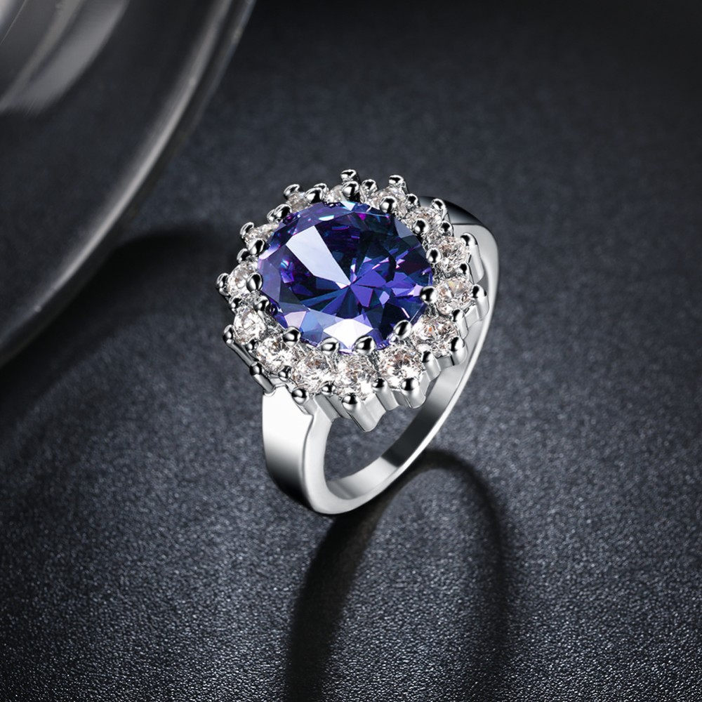 Kate Princess Diana William 2.5ct Blue Engagement Wedding Ring For Women Love Lady Set gold colour Fine Jewelry