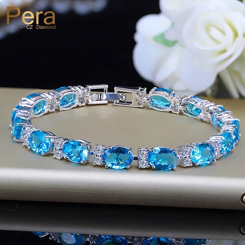 Fashion Summer Style Light Blue Stone Tennis Bracelet For Women 925 Sterling Silver Big Cubic Zirconia Bangles & Bracelets B107 chain
