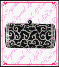 Aidocrystal glamour crystal pave hard crown pattern black clutch handbag for women