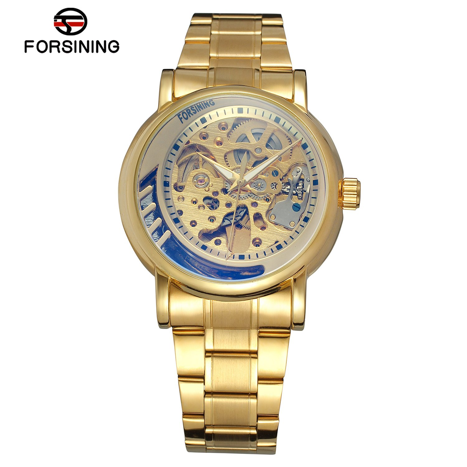 FORSINING Top Luxury Men Mechanical Watches Automatic Skeleton Stainless Steel Gold Mens Wrist Watch Relogio Masculino otoky unique luxury mens steampunk skeleton stainless steel automatic mechanical wrist watch f30
