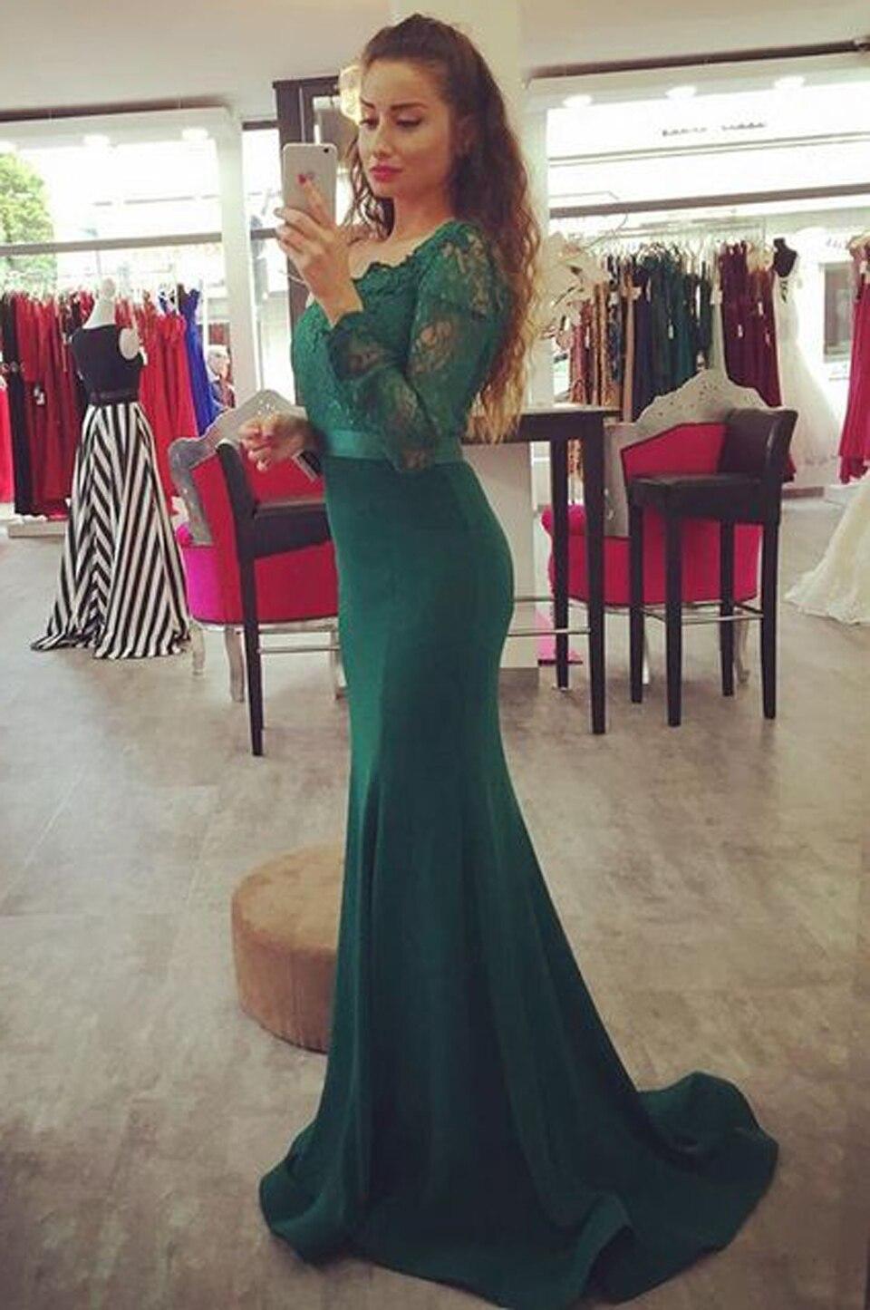 quality design b5a70 83163 Pizzo Manica Lunga Scollo A V Verde Smeraldo Lungo Sirena ...