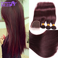 TOP Lace Closure With Bundles 99j Red Straight Human Hair With Bundles 7A Burgundy Brazilian Human Hair Extensions With Closure