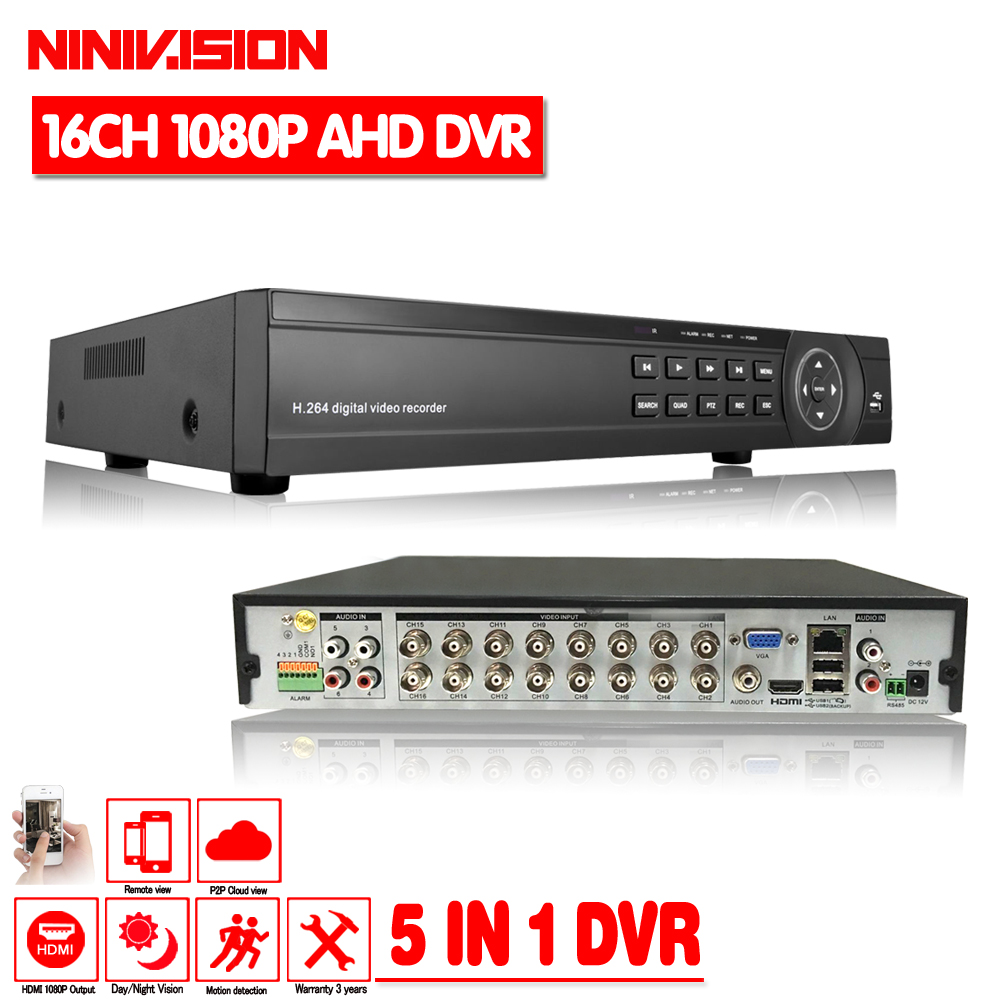 NINIVISION CCTV DVR 16Ch Digital Video Recorder AHD 16 Channel 1080P Hybrid Home Security DVR 2.0MP HDMI Output Onvif P2P ninivision ahd 4 channel 1080p hdmi 1080p 4ch hybrid ahd dvr hvr nvr onvif for security ip camera p2p function cctv dvr recorder