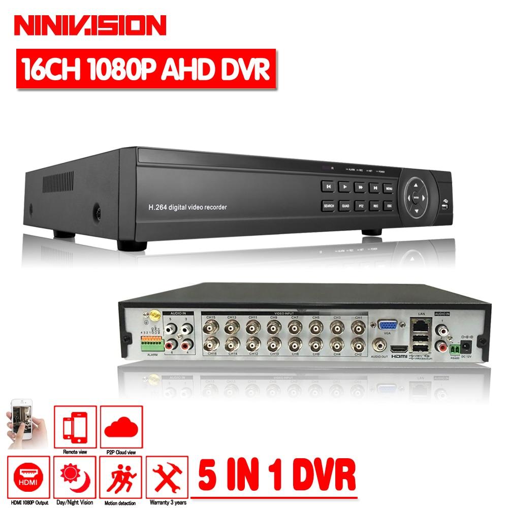 Ninivision CCTV DVR 16Ch цифрового видео Регистраторы AHD 16 канальный 1080 P гибридного дома безопасности DVR 2.0MP HDMI Выход Onvif P2P