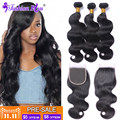 HOT11.11 Brazilian Virgin Hair with Closure Brazilian Virgin Hair Body Wave Human Hair Bundles Mink Brazilian Hair Weave Bundles