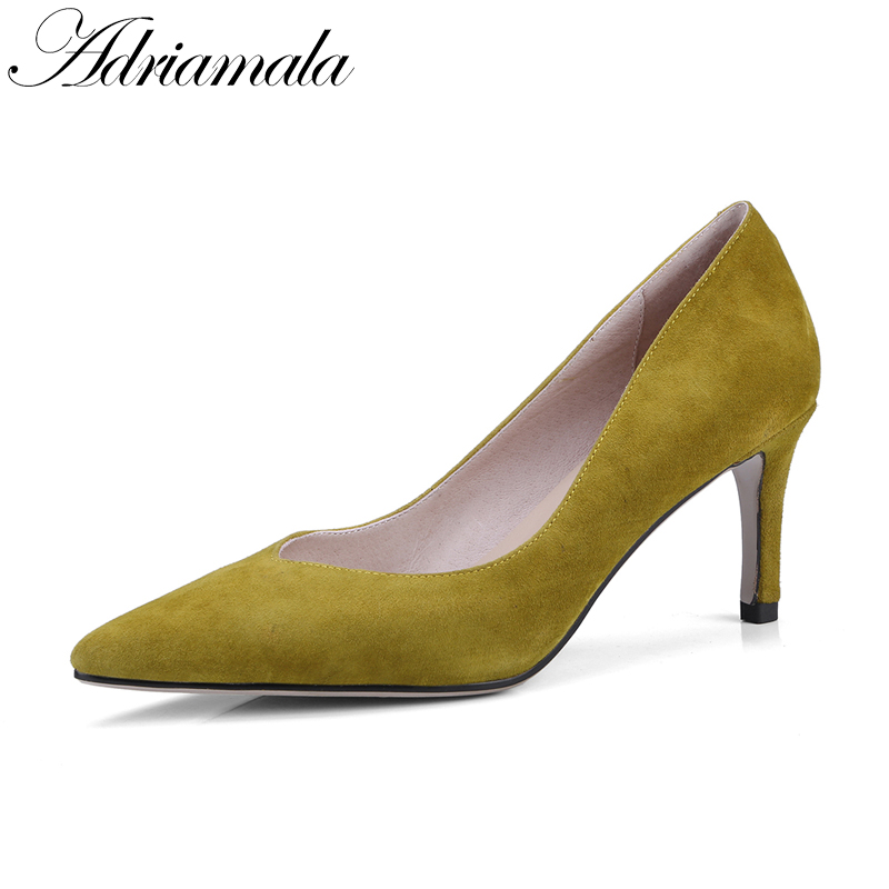 2018 Pointed Toe Office Lady Shoes Brand Designer Spring Summer New Fashion High Heels Pumps Shoes For Women Adriamala new 2017 spring summer women shoes pointed toe high quality brand fashion womens flats ladies plus size 41 sweet flock t179
