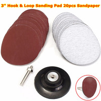 3 Hook And Loop Sanding Pad With Drill Adapter 20pcs Sandpaper Durable Quality