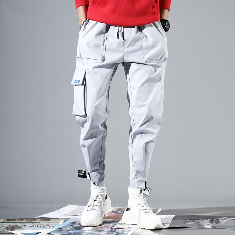 2019 Men Multi-pocket Elastic Waist Design Harem Pant Street Punk Hip Hop Red Casual Trousers Joggers Male Army Cargo Pants XXXL(China)