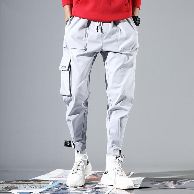 2020 Men Multi-pocket Elastic Waist Design Harem Pant Street Punk Hip Hop Red Casual Trousers Joggers Male Army Cargo Pants XXXL 29