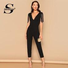 d62e3ce4142 Sheinside Black Sleeveless Tassel Decoration Party 2019 Summer Skinny Solid