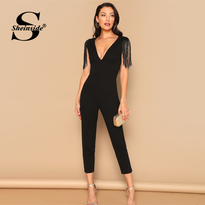 Sheinside Black Sleeveless Tassel Decoration Party   Jumpsuit   2019 Summer Deep V Neck Skinny   Jumpsuit   Ladies Solid Trim   Jumpsuits