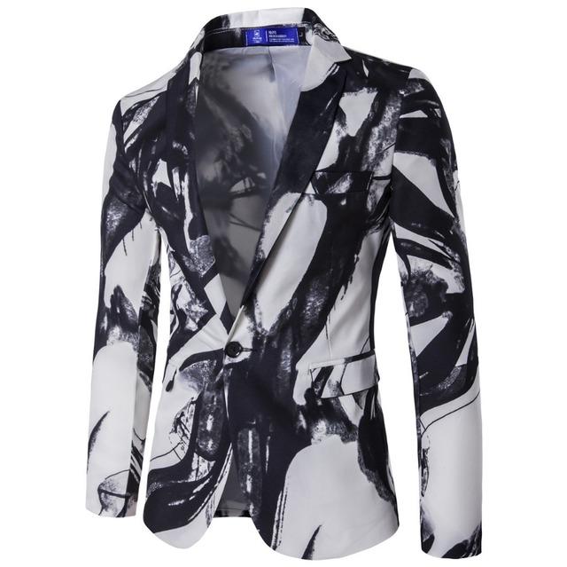 2016 Nuevas Llegadas de Los Hombres un botón de chaqueta de traje del padrino de boda de estilo Chino de tinta de impresión juego ocasional de la alta calidad