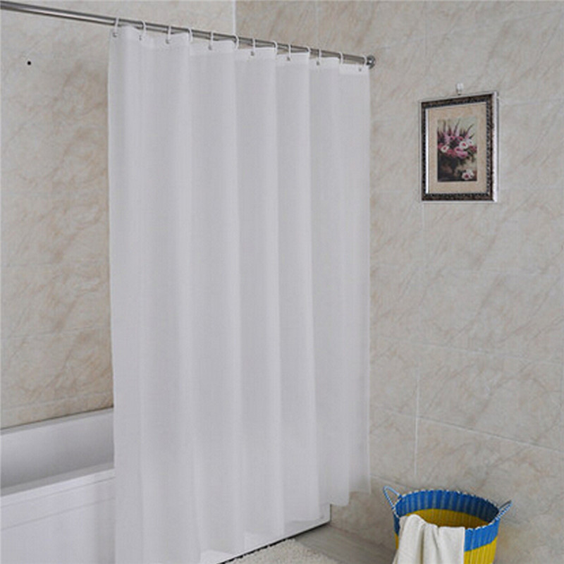 White Shower Curtain Modern Waterproof Fabric Liner Bath Bathroom Home With  12 Hooks 180*180cm