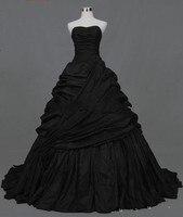 Vintage Gothic Victorian Black Wedding Dresses Sweetheart Corset Back Pick Ups Taffeta Non White Bridal Gowns