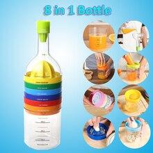 Multifunción 8 en 1 Herramientas de Cocina Botella de Forma Profesional máquina de Cortar Rallador Trituradora Embudo Taza de Medir