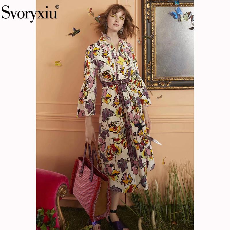Svoryxiu w stylu Vintage kwiat wydruku luźne Midi sukienka damska elegancka skręcić w dół kołnierz Flare rękaw projektant lato paski sukienki 2019 w Suknie od Odzież damska na  Grupa 1