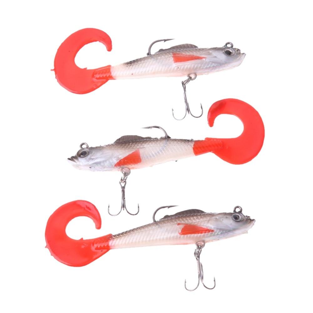 3Pcs Lead Head Soft Fishing Lures Long T Tail Fishing Lure Treble Hook Bait Fake Fishing Lures EA14 wldslure 1pc 54g minnow sea fishing crankbait bass hard bait tuna lures wobbler trolling lure treble hook